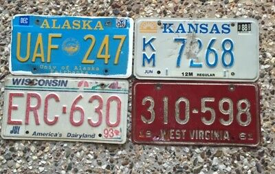 4 Rough Condition Number Plates From Different American States
