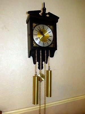 A Good Acctim 31 Day Chime Strike Hooded Wall Clock With Key * Serviced *