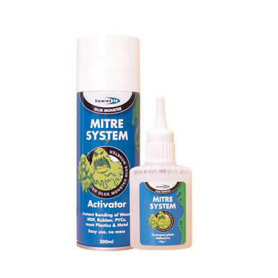 Bond It Mitre Bonding System Kit Activator 200ml & Superglue 50g Joint Wood Glue