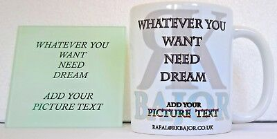 Personalised Own Mugs With Coaster Gift Picture Photo Text Birthday Home Coffee