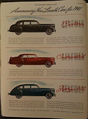 Vintage Original 1940 Lincoln Custom Cars For 1941 Magazine Large Color Ad