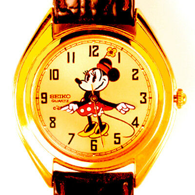 Minnie Mouse Lady Copper Seiko Watch Unworn Easy Read Dial Arms Point Time! $299