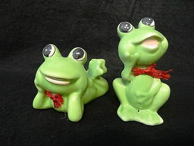 Lot of 2 Ceramic Green FROG FIGURINES Resting on Tummy BIG EYES Figure