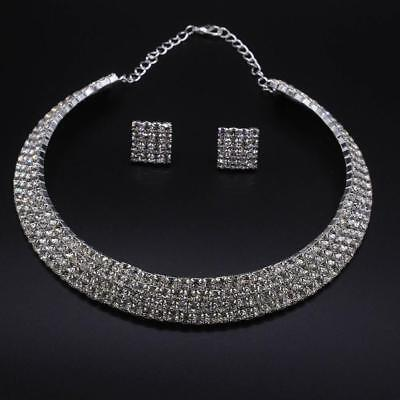 Party Wedding Bridal Crystal Necklace Choker Earring Studs GP Silver Jewelry