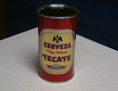 Cerveza Tecate Flat Top Beer Can Minty Shape And Bottom Opened!