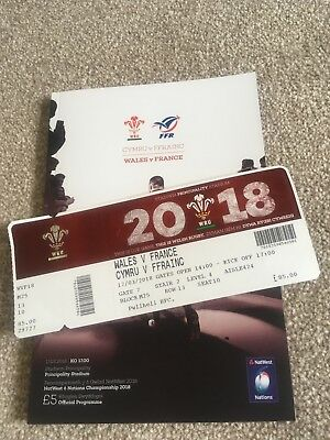 Wales V France Six Nations Rugby Programme & Ticket 17/03/2018 Mint Condition