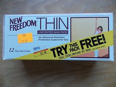 Vintage New Freedom 12 Thin Unscented Maxi Pads TRY THIS PACK FREE SEE CONDITION