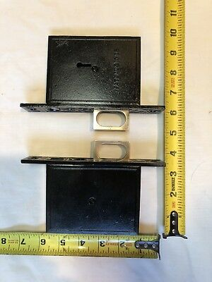 Antique Potted Flower Double Pocket Door Mortise Lock 1886