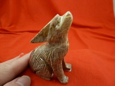(Y-COY-400) tan gray Coyote wolf carving stone gemstone SOAPSTONE PERU coyotes