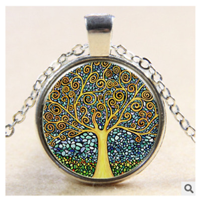 The tree of life in ancient silver glass pendant necklace@3