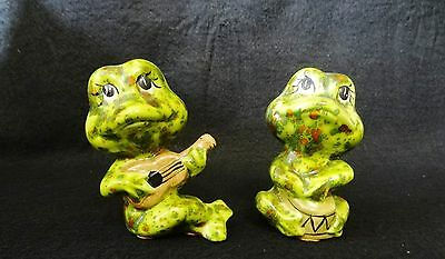 Lot of 2 Ceramic FROG FIGURINES with DRUM & GUITAR
