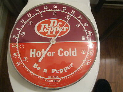 1960s Original Dr. Pepper Hot or Cold Round Thermometer  :Be a Pepper logo