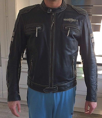 Lederjacke Motorrad Chopper Cruiser Highway 1 Authentic schwarz beige