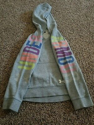 Under Armour UA Girl's YS Youth Small Sweatshirt Rainbow Lettering