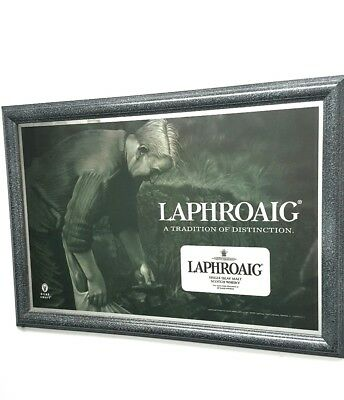 "Wonderful  ""Laphroaig"" Framed Bar Mirror Sign~Single Islay Malt Scotch Whiskey"