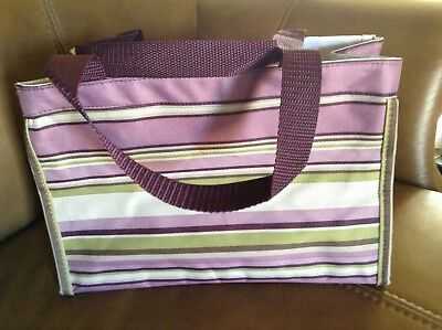 Thirty-one All in One Organizer Tote Plum Stripe 31 NEW