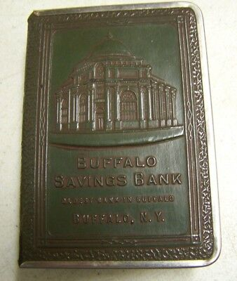 Vintage BUFFALO NY BUFFALO Savings Bank Book Shaped Moneybox Piggy Bank Green