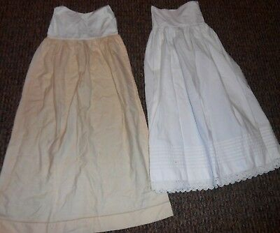 Victorian Antique Baby Infant Christening White Petticoat & Natural Wool Slip