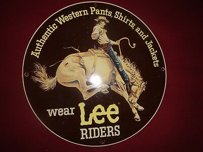 Vintage Heavy Porcelain Sign Lee Riders Western Wear Authentic Shirts And Pants