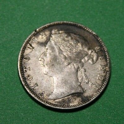 1889 Straits Settlements silver 20 cents coin