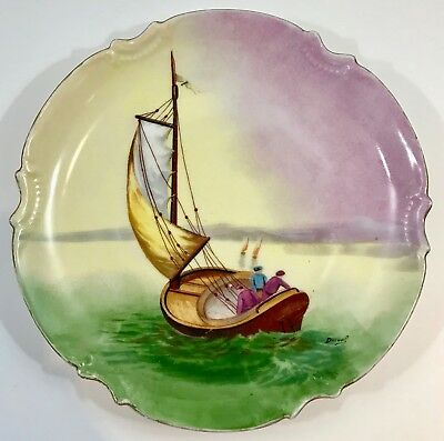 Borgfeldt Coronet Limoges France Handpainted Charger Plate Sailboat Signed Duval