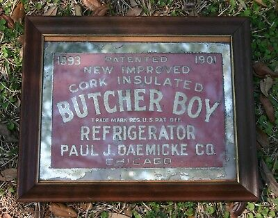 Antique Country Store Reverse Painted Glass Advertising Sign Butcher Boy Ca 1893