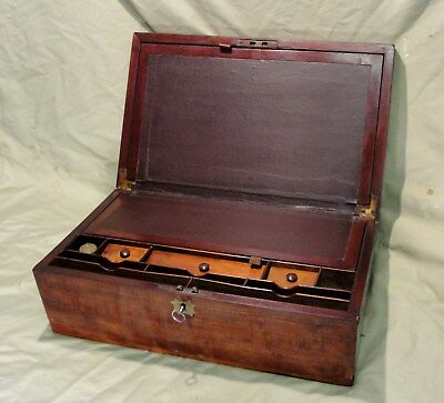 1880s GENTLEMANS WRITING SLOPE in MAHOGANY with FITTED INTERIOR INKWELL & KEY