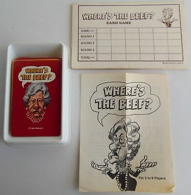 """Vintage 1984 Wendy's Where""""s the Beef Card Game NO BOX! Complete WITHOUT BOX"""