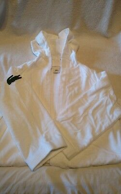 Lacoste Woman's 100%White Cotton Terry Velour Robe with Hood One Size NWOT