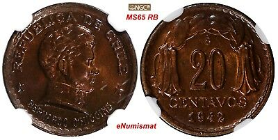 Chile Copper 1942 SO 20 Centavos NGC MS65 RB TOP GRADED BY NGC KM# 177