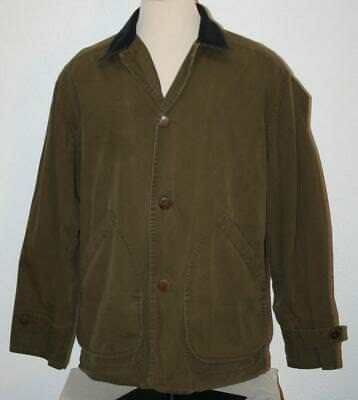 """J.CREW Olive Green Button Up Coat Jacket Large Chest 53"""" Barn Chore J Crew Mens"""