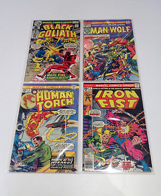 1970s Lot of 4 Marvel (Black Goliath/Creatures/Iron Fist/Human Torch) Mid-Low Gr
