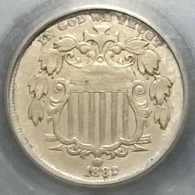 1882  Shield Nickel  VF+   doubled date!
