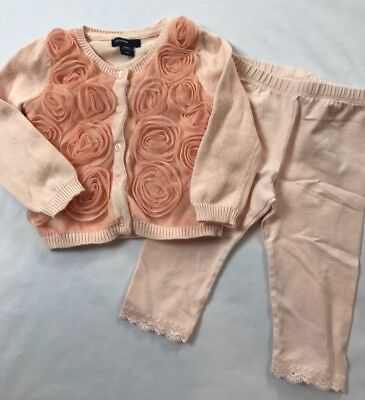 Baby Gap Girls 6-12 Months Peach Pink Rose Tulle Sweater Top Leggings Outfit Set