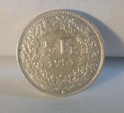 Silver Coin Switzerland 1/2 franc 1951 (A401) ***FREE SHIP***