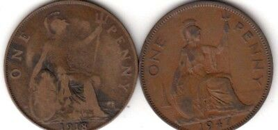 1918 & 1947 Great Britain one penny  (A442) ***FREE SHIP***