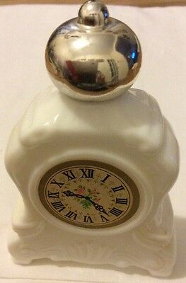 Vintage Avon Bottle Of a White Mantle Clock