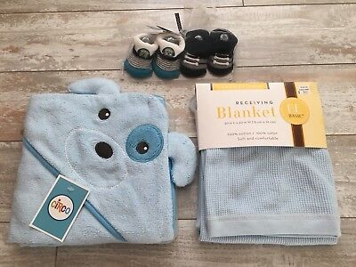 Lot Newborn Infant Baby Boy Blue Hooded Towel Receiving Blanket Booties NEW!
