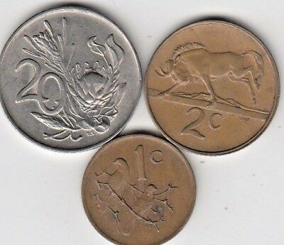 South Africa 1+2+20 cents  1972-1983 (A433) ***FREE SHIP***