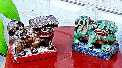 Pair Antique Chinese Hard Stone Carved Painted In Green And Brown Foo-Lion Statu