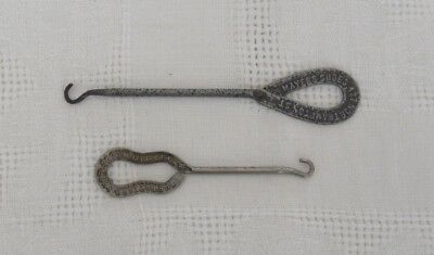 2 antique advertising shoe button Hooks – Easton PA