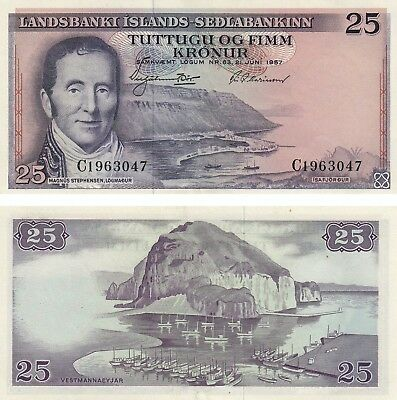Uncirculated Iceland 25 Kronur 1961 banknote AUNC Condition!! Free Shipping!!