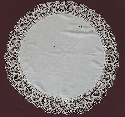 Two Antique round tablecloths with hand crocheted edging for repurpose