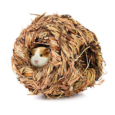 Pet Hamster Rat Cabin Dried Grass House Snooze Sleeping Nest Hiding Cave Pet Toy