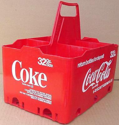 Vintage Coke Coca Cola Red Carry Case For 6-32Oz Glass Bottles