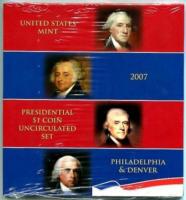 U.S.MINT 2007 P&D Uncirculated Presidential Dollar Set