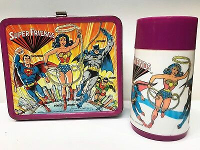 RARE, 1976  VINTAGE Super Friends Metal LUNCHBOX, w/ ORIGINAL Thermos! DC COMICS