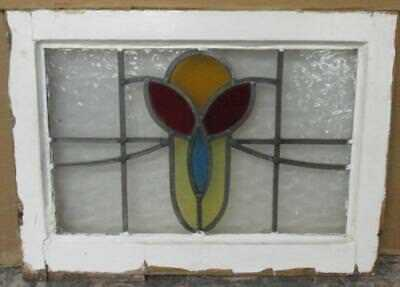 "OLD ENGLISH LEADED STAINED GLASS WINDOW Nice, Pretty Floral 21.5"" x 16"""