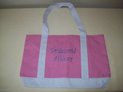 Bridesmaid Abbey Tote Bag Pink White Canvas Wedding Bridal Accessories Large New