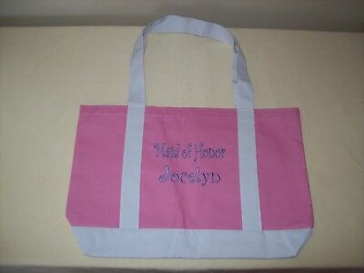 Maid of Honor Tote Bag Jocelyn Pink White Canvas Wedding Bridal Accessorie Large